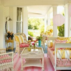seating - white wicker chairs - summer #porch and #patio decor, design ideas and inspiration