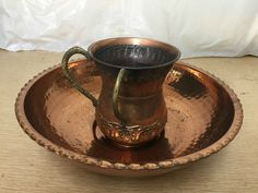 antique judaism copper netilat yadayim jewish washing lavel cup u bowl judaica