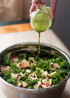kale and apple salad with cilantro-lime dressing (food, recipe, summer salad)