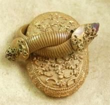 Antique Snake Bracelet Vintage Cleopatra's delight Wide Serpent coils Amethyst Purple rhinestone teardrop Victorian era
