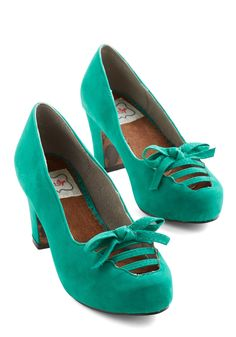 Revive Got an Idea Heel in Aqua. You adore the chic concept of bringing back retro looks, so youre starting with these teal heels from Bettie Page! #green #modcloth