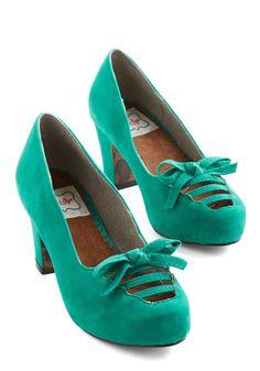 Teal bow heels