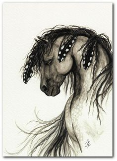 Native American Horse Painting | Mustang Horse Native American Grey Feather Spirit ArT-Fine ArT ...