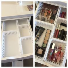 Walmart Makeup Storage Ideas for IKEA Alex Drawers. Walmart Storage Ideas for Ikea Alex Drawers. Walmart Makeup Storage Ideas for IKEA Alex Drawers - makeup storage with MainStays kitchen storage trays from Walmart fit perfectly in Alex drawers! Ikea Organisation, Alex Drawer Organization, Makeup Storage Organization, Ikea Storage, Organization Ideas, Bathroom Storage, Bathroom Organization, Storage Hacks, Storage Boxes