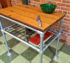 Kitchen Island Reclaimed Wood Industrial by HammerHeadCreations - Made with Kee Klamp