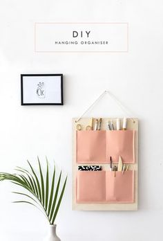 DIY wall hanging organiser tutorial for your home office or anywhere in the house   easy craft ideas   organization