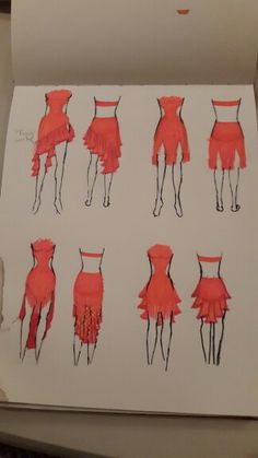 Different skirt designs. We decided on the top left for this dress. Different skirt designs. We decided on the top left for this dress. Ballroom Costumes, Jazz Dance Costumes, Latin Ballroom Dresses, Ballroom Dancing, Latin Dresses, Salsa Dress, Dance Leotards, Dance Fashion, Dance Outfits