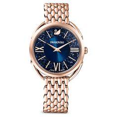 Crystalline Glam Watch, Metal Bracelet, Blue, Rose-gold tone PVD   Swarovski.com Swarovski Gifts, Swarovski Jewelry, Swarovski Crystals, Stainless Steel Metal, Metal Bracelets, Color Azul, Gold Watch, Bracelet Watch, Jewelry Accessories
