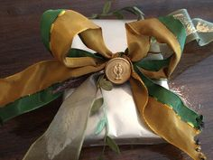 French ribbon and vintage button gift wrapping