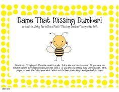 "Name That Missing Number!A math activity for mClass Math ""Missing Number"" in grades K-3.  Students name the missing number either at the begi..."