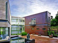 Winn Wittman Architecture - contemporary - Exterior - Austin - Winn Wittman Architecture: Architects & Building Designers  www.winnwittman.com, U shaped courtyard home of shipping containers