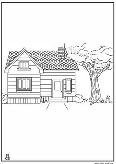Free Online Coloring, House Colors, Coloring Books, Home, Draw, Vintage Coloring Books, Coloring Pages, Haus, Homes