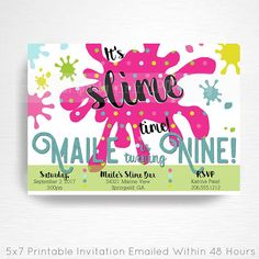 slime birthday party printable invitation you print bright rainbow slime foam beads