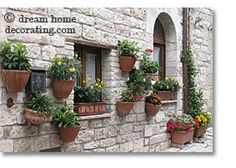 pictures of plants in OUTDOOR planters | Wall mounted terracotta planters like these are easy to install.