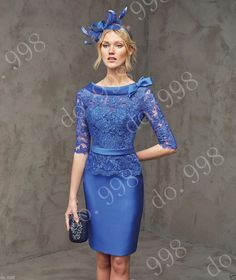 Open Back Blue Mother Of The Bride Lace Outfit Guest Women Formal Dress Evening