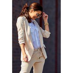Sacou bej office-elegant cu maneci trei sferturi Moleskine, Brooks Brothers, Smart Casual, Karl Lagerfeld, Jackets For Women, Polo Ralph Lauren, Ruffle Blouse, Coat, Bleach