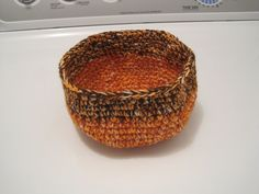 Another new one I have crocheted - uses some Lion Brand wool, some very fine fingering yarn, and the top uses a black wool with copper threads thru it - can't wait to felt it