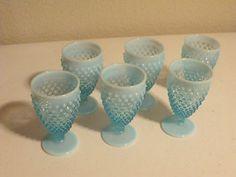 VINTAGE FENTON OPALESCENT BLUE HOBNAIL WATER OR ICE TEA GOBLETS