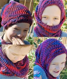 Free knitting pattern for Chameleon convertible hat - Zeph Kane's ingenious design can be worn as a hat, hood, balaclava, cowl, headband and more. Pictured project is by frockfarie