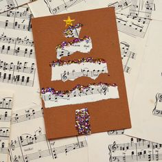 Make lovely Christmas Tree greetings cards by tearing and collaging old music paper, with a dash of glitter and a star on top Christmas Art Projects, Christmas Crafts For Kids To Make, Christmas Activities, Holiday Crafts, Christmas Makes, Christmas Fun, Music Collage, Collage Art, Children's Church Crafts