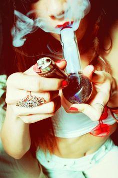 ganja-girls smoke weed bong pipe ring
