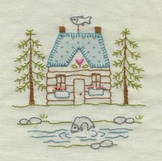 Lovely embroidered house - Red Brolly Designs More Mais Embroidery Designs, Hand Embroidery Patterns, Vintage Embroidery, Embroidery Art, Embroidery Applique, Cross Stitch Embroidery, Machine Embroidery, Embroidery Sampler, Blackwork