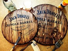 Jack Daniels personalized whiskey barrel top | Handpainted liquor artwork and your message on a distressed wood, decorative sign | Rustic wall decor