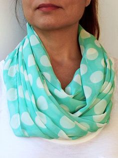 Mint Green pola dot infinity scarf.... everything you could ever love.. mint green, polka dots, infinity.. @Samantha Angoletta Maile