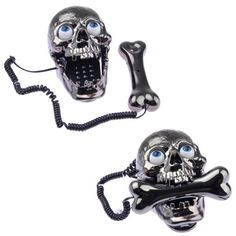 If you have a goth decorated home or just want something wacky for Halloween this year, check out this Skull Skeleton Corded Telephone.