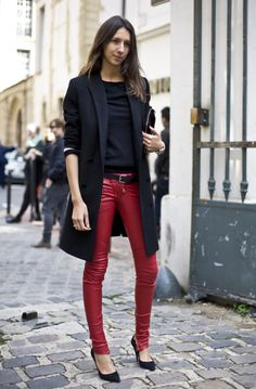 Red leather pants from Balmain with a lighter black fall coat. Good as ever for fall/winter 2012/13.