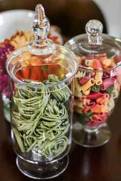 Italian Themed Dinner Party Ideas, centerpiece pasta in jars dinner party decorations Italian Themed Party Ideas - Celebrations at Home Pasta Bar, Dinner Party Menu, Dinner Themes, Dinner Club, Dinner Ideas, Italy Party Theme, Italian Party Decorations, Italian Themed Parties, Italian Party Foods