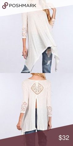LONG KNIT TOP Beautiful long  top with cute embroidery details on the sleeves. Cracked open on the back with a knitted detail. So adorable! Pink Sol Boutique Tops Blouses