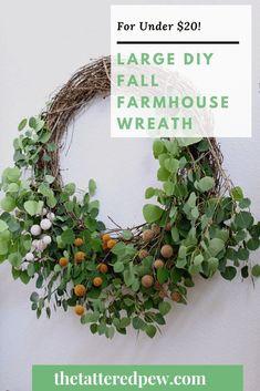 This large DIy fall farmhouse wreath cost me just under $20 to make! Perfect for fall!#wreath #diywreath #fallwreath Backyard Projects, Easy Diy Projects, Modern Farmhouse Interiors, Farmhouse Decor, Green Shutters, Diy Wreath, Wreath Ideas, Fall Diy, How To Make Wreaths