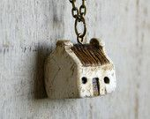 Miniature Irish Cottage Pendant Hand Painted Paper Clay -- Handmade in Ireland