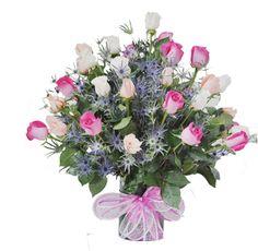 ADELAIDA - $150.000 [25 Rosas (Blanca, Rosada y Fucsia) - Moraditas - doble Florero de vidrio redondo - Moño y Tarjeta] Fresco, Floral Wreath, Wreaths, Plants, Home Decor, Round Glass, Glass Vase, White Roses, Hot Pink