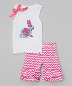 Look what I found on #zulily! Teal & Hot Pink Tank & Ruffle Shorts- Infant, Toddle & Girls #zulilyfinds