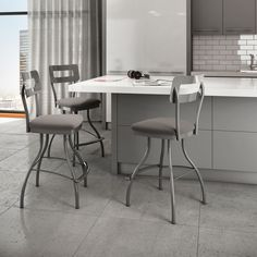 This Amisco Cora swivel counter stool features muted colors and a tame, but modern, design. With its clean and fluid feel, these stool will pull your room together.