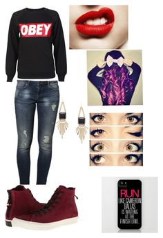 """""""Untitled #28"""" by haaiilleeyy13 ❤ liked on Polyvore featuring beauty, OBEY Clothing, even&odd, Kendra Scott and Converse"""
