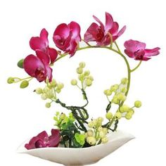 New Bonsai Arrangment In China Dish Artificial Silk Flowers Angel Wings 35cm