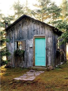 neglected cabin turned artist's cottage with turquoise door! Stacey Haines/ House of Turquoise (keeping this description it is perfect) House Of Turquoise, Turquoise Door, Aqua Door, Turquoise Cottage, Deco Champetre, Cabin In The Woods, She Sheds, Cabins And Cottages, Little Houses