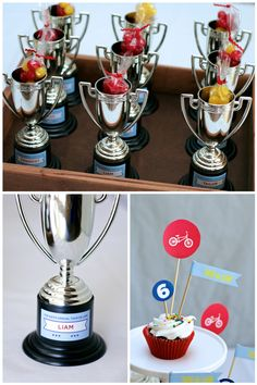 Bike Race Birthday Party, Aimee Lowry, Tour de Liam, Trophy Party Favors, Birthday Cupcakes, Birthday Party Ideas