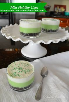 St Patty's Day Mint Pudding Cups - these are so delicious!