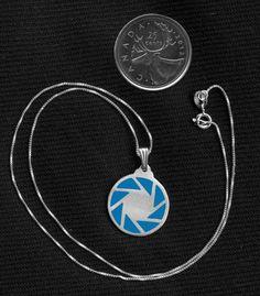 Sterling Silver Portal Aperture Science Pendant  Video Game Fan Art Jewelry on Etsy, $45.24