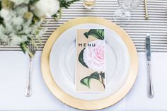 Chic menu & table decor: http://www.stylemepretty.com/2014/11/26/california-spring-garden-wedding/ | Photography: Troy Grover - http://blog.troygrover.com/
