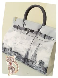 Mousse printed bag - Paris tower in grey color . Size : L39 x H27 x W18cm Price : US$79 Material: Polyester