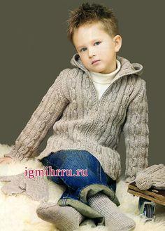 Серый жакет с косами на застежке-молнии для мальчика. Вязание спицами