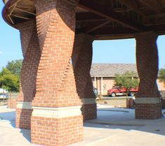 twisted brick pillars