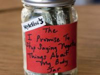 The I Promise to Stop Saying Negative Things about my Body Jar // Am going to make this a thing during rehearsals - help fun money for VK parties keep yall realizing how beautiful you are.Well do the parties. Regardless of how full the jar is. Positive Body Image, Positive Images, Tip Jars, Say Something Nice, Eating Disorder Recovery, Thing 1, Body Hacks, You're Beautiful, Beautiful Things