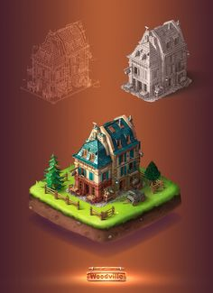 """Woodville is a social """"citybuilding"""" game.Our team worked with great passion over this project from core concepts to polished 3d models ready to be used in game environment.For work inquiries: contact@drawcoinart.com"""
