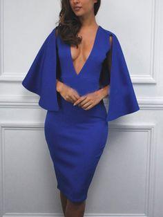 Deep V Neck Cape Sheath Dress